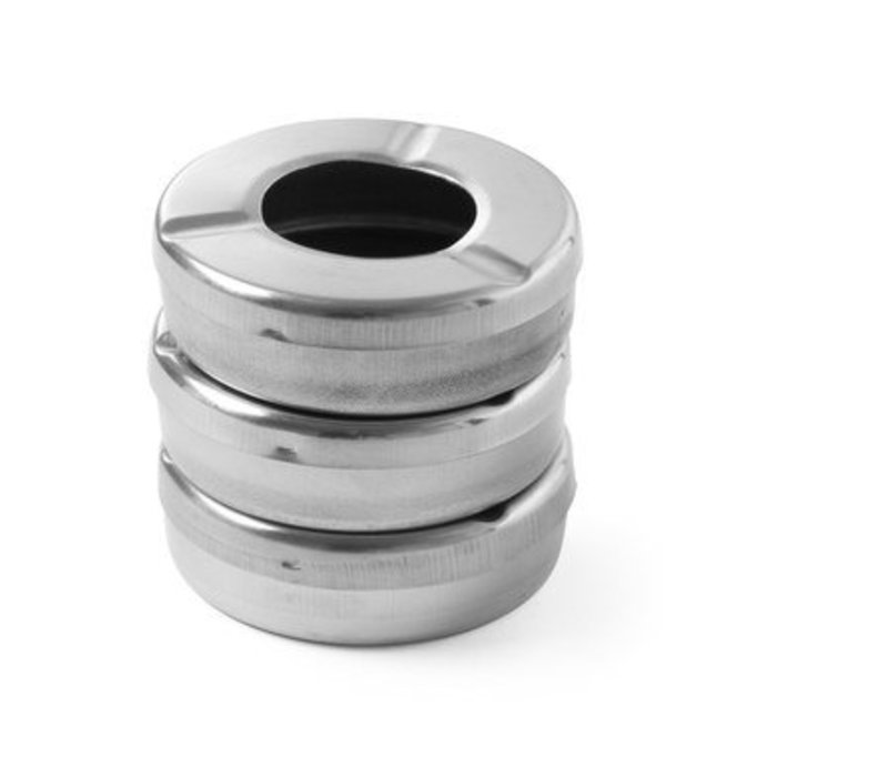 Hendi Ashtray with Lid | Stainless steel | Ø90x (H) 28