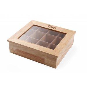 Hendi Tee-Box | 12 Kurse | Holz mit Acryl-Fenster | 300x280x (H) 90 mm