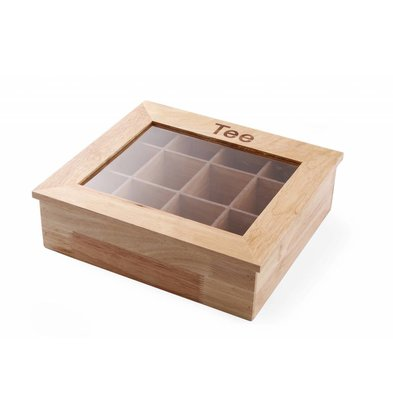 Hendi Tea Box | 12 Courses | Wood with Acrylic Window | 300x280x (H) 90mm