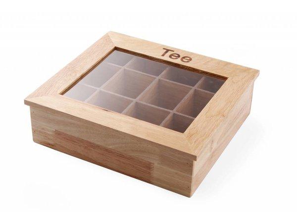 Hendi Tea Box | 12 Courses | Wood with Acrylic Window | 300x280x (H) 90mm