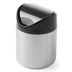 Hendi Table Bin stainless steel 120x165mm | Black | Swing lid plastic | Ø120x (H) 165mm
