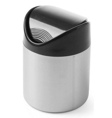 Hendi Table Bin stainless steel 120x165mm | Black | Swing lid plastic | Ø120x (H) 165mm