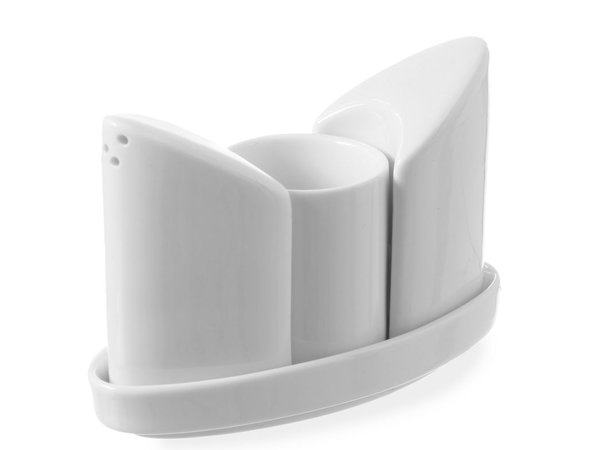 Hendi Menage Weißes Porzellan | Salz / Pfeffer / Zahnstocher | 125x54x (H) 90 mm