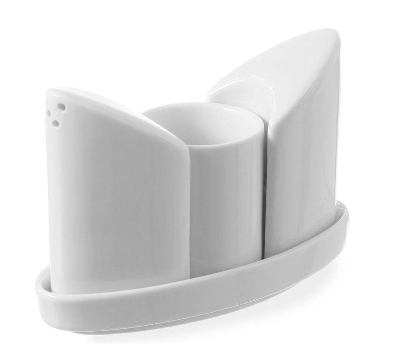 Hendi Menage Wit Porselein | Peper/Zout/Tandenstoker | 125x54x(H)90mm