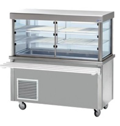 Diamond Refrigerated display Refrigerated display case with base cabinet | Dense storage | 4 x 1/1 GN | 1500x700x (h) 1620mm | 0.6 kW