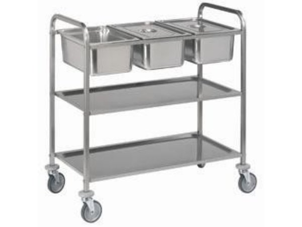 Diamond Trolley stainless steel 2 Levels | 3x GN 1/1 | 2 wheels with brake | 1120x620x (h) 1120 mm