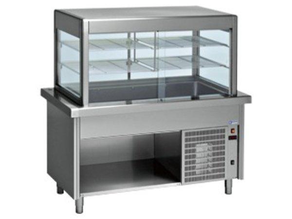 Diamond Kühlvitrine Kühlvitrine mit Open Unterschrank | 6 x 1/1 GN | 2250x800x (h) 1600mm | 1,2 kW
