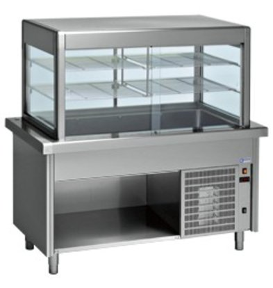 Diamond Refrigerated display Refrigerated display case with base cabinet | 2 Temperatures | 4 x 1/1 GN | 1500x800x (h) 1600mm | 0.6 kW
