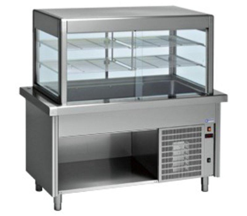 Diamond Display Koelvitrine met Gekoelde Onderkast   2 Temperaturen   4 x 1/1 GN   1500x800x(h)1600mm   0,6 kW