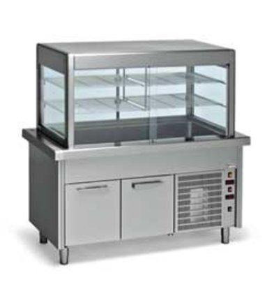 Diamond Kühlvitrine Kühlvitrine mit Unterschrank | 6 x 1/1 GN | 2250x800x (h) 1600mm | 1,8 kW