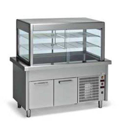 Diamond Refrigerated display Refrigerated display case with base cabinet | 6 x 1/1 GN | 2250x800x (h) 1600mm | 1.8 kW