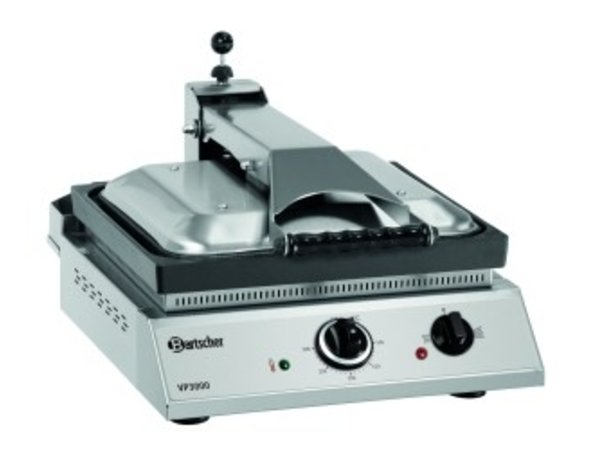 Bartscher Contact Grill VP3000 | Stainless steel | Adjustable thermostat | 380x470x (H) 240 / 550mm