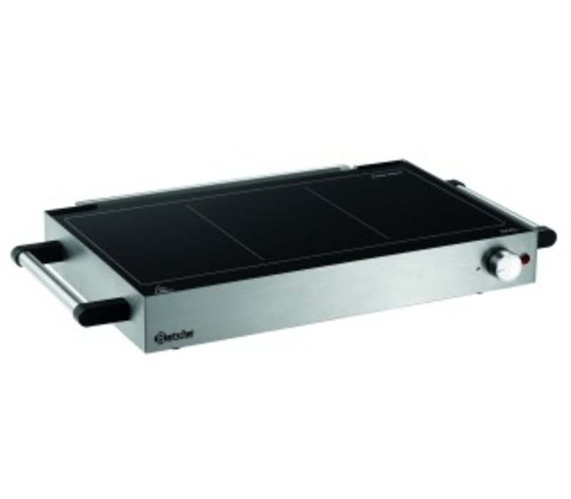 Bartscher Ceran grill plate and Hot Plate | Grilling and Keep Warm | Stainless steel | With Handles | 600x415x (H) 86mm