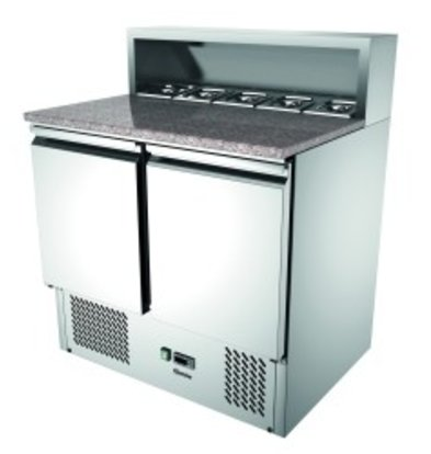 Bartscher Pizza Saladette | With granite countertop | 2 Doors | Air-cooled | 260 Liter | 900x700x (H) 1080mm