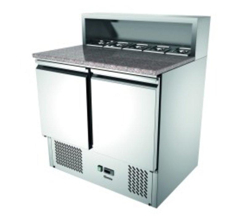 Bartscher Pizza Saladette | Mit Granit-Arbeitsplatte | 2 Türen | Luftgekühlte | 260 Liter | 900x700x (H) 1080mm