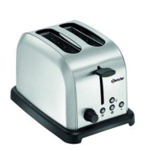 Bartscher Toaster 2-Scheiben | Edelstahl | Herausnehmbare Krümelschublade | 195x300x (H) 200 mm