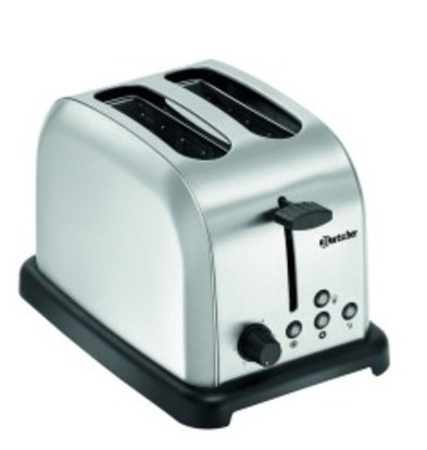 Bartscher Toaster 2 Slices | Stainless steel | Removable Crumb Tray | 195x300x (H) 200mm