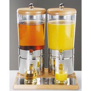 Sapdispenser met 1 Koelelement | Houten Stijl | 2 x 6 Liter met Aftapkraan | 420x350x(h)520 mm