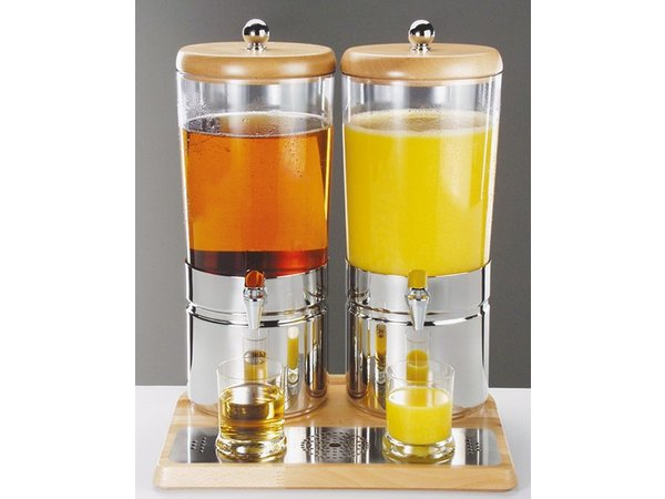 Sapdispenser with one Heatsink | Wooden Style | 2 x 6 liters with drain valve | 420x350x (h) 520 mm