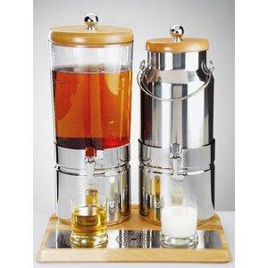 APS Juice / Milchspender mit einem Kühlkörper | Holz-style | 6 + 5 Liter mit Ablassventil | 420x350x (h) 520 mm