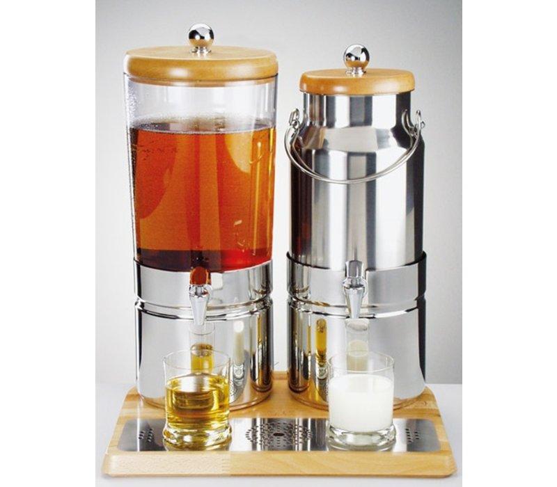 APS Sap / Melk dispenser met 1 Koelelement | Houten stijl | 6+5 Liter met Aftapkraan | 420x350x(h)520 mm
