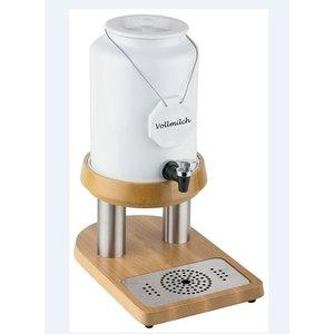 APS Milchspender mit Kühlelement in Fuß | Holz-style | 4 Liter mit Ablassventil | 230x320x (h) 420 mm