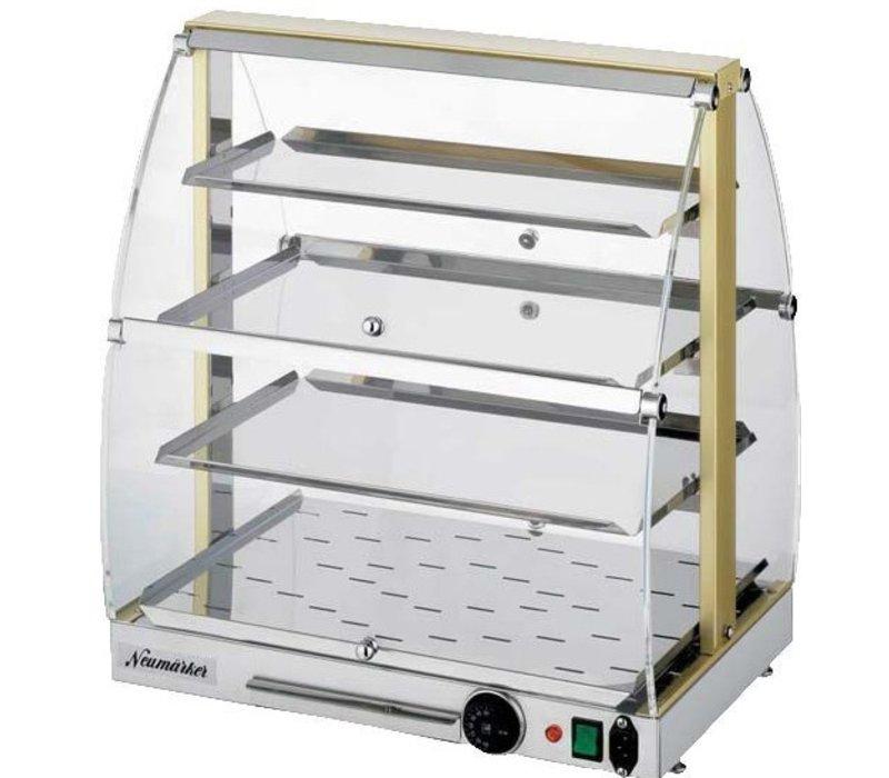 Neumarker Warmhoudvitrine RVS met Messing Pilaren - Verlichting met Water tray - 500x360x(h)550 mm