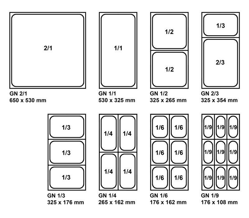 Bartscher GN-Behälter verstärktem Rand - tin 1/1 - GN, 65 mm CNS 18/10 | 325x530mm