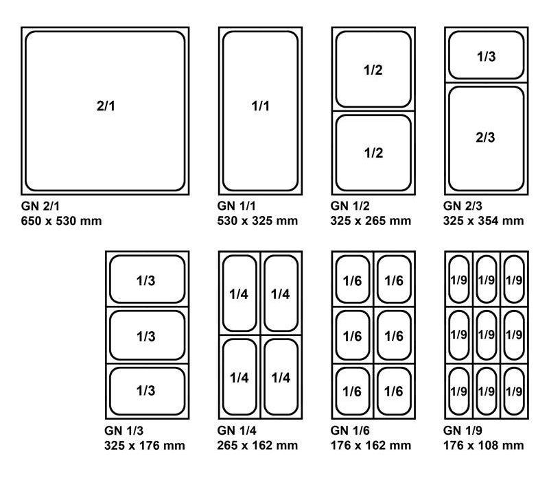 XXLselect GN Bakhouder RVS - Geschikt voor 6x 1/9 - GN, 4x 1/6 - GN, 2x 1/3 - GN   15(l) x 68(b) x 16(d)cm