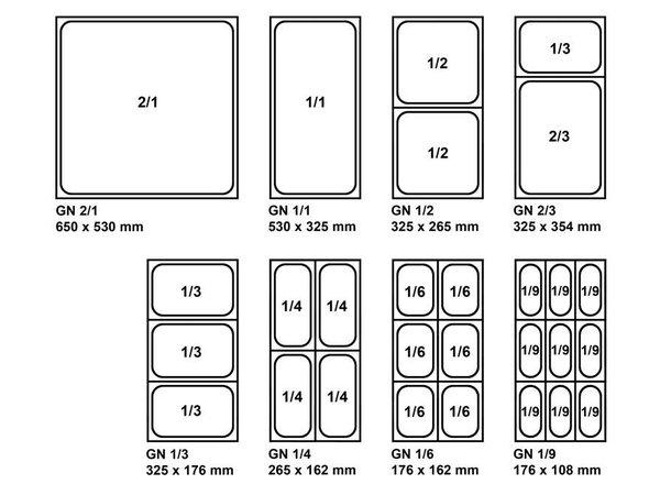 Saro GN-bakken 2/4 - 65 mm diep 3,8 liter   162x530mm