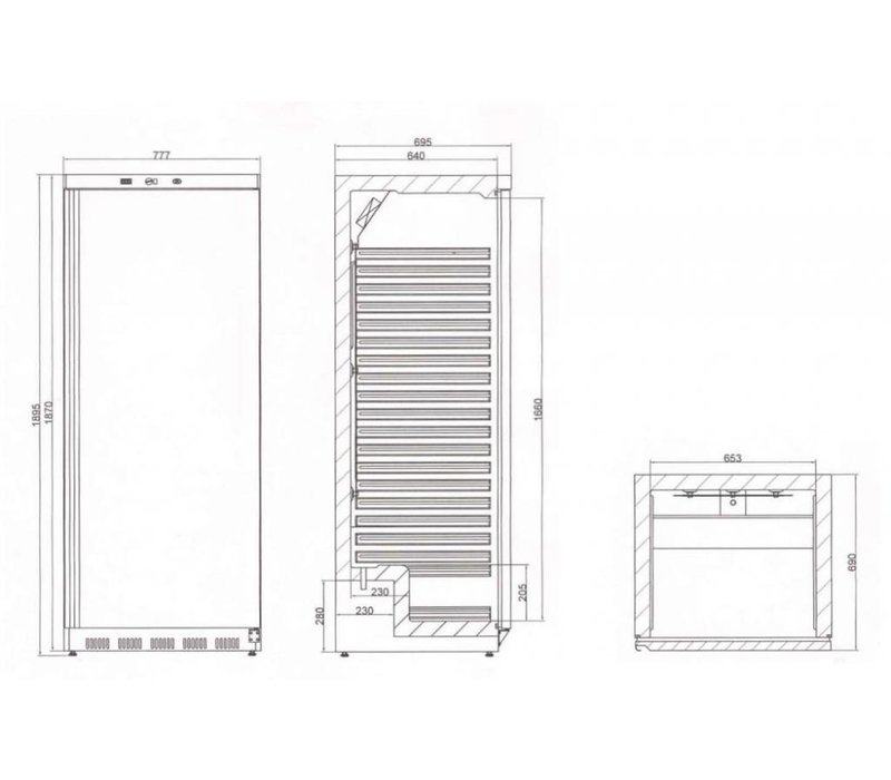 Diamond Kühlschrank - Jumbo - 600 Liter - Edelstahl - 77x69x (h) 189cm