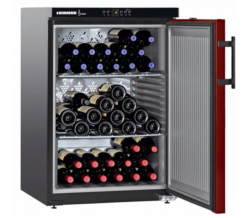 Liebherr Wijnkoelkast Zwart/Bordeaux Rood - Dichte Deur | 66 Flessen | Liebherr | 145 Liter | WKr 1811 | 60x61x(h)89cm