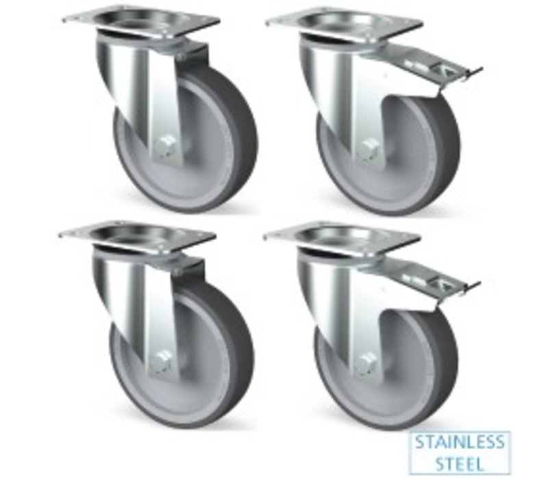 Diamond Set of 4 Castors in stainless steel - two with brake