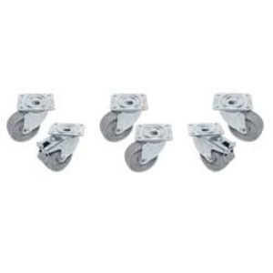 Diamond Kit 6 Verzinkte Zwenkwielen Voor Tafels - 2 Met Rem - Ø100mm