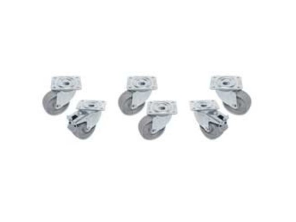 Diamond Kit 6 Galvanised Castors For tables - two with brake - Ø100mm