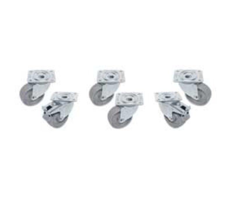 Diamond Kit 6 verzinkt Rollen Für Tische - zwei mit Bremse - Ø 100mm