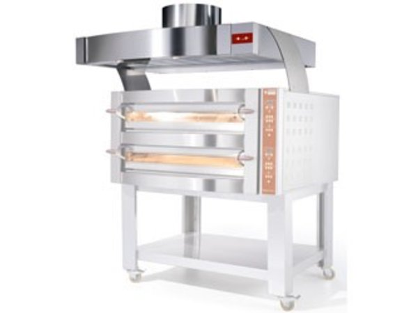Diamond Stainless steel hood with motor | Oven 9 & 18 Pizzas | 1560x1230x500 (h) mm