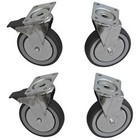 Diamond Set of 4 stainless steel castors - HEAVY DUTY - 2 With Brake