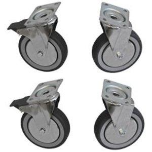 Diamond Set 4 Zwenkwielen RVS - HEAVY DUTY - 2 Met Rem