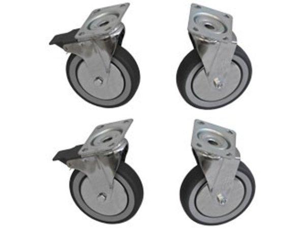 Diamond Set of 4 stainless steel castors - HEAVY DUTY - 2 With Brake