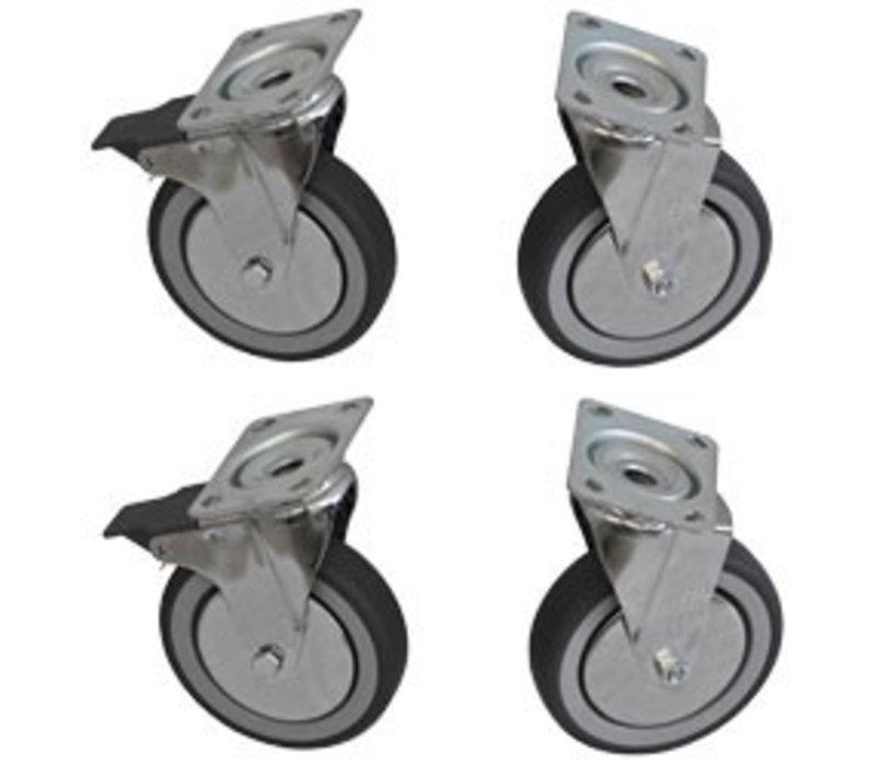 Diamond Ein Set aus 4 Edelstahlrollen - HEAVY DUTY - 2 mit Bremse