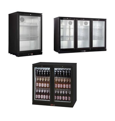 XXLselect Bar Fridge / Bottle Cooling - Black - 3 Sizes - 1/2/3 Doors - 138L - 208L - 330L