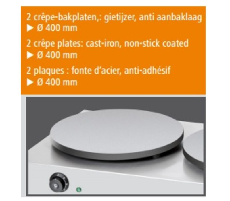 Bartscher Crepes Double Griddle   Professional / Electrical   2 x 3000W / 230V   40 cm diameter