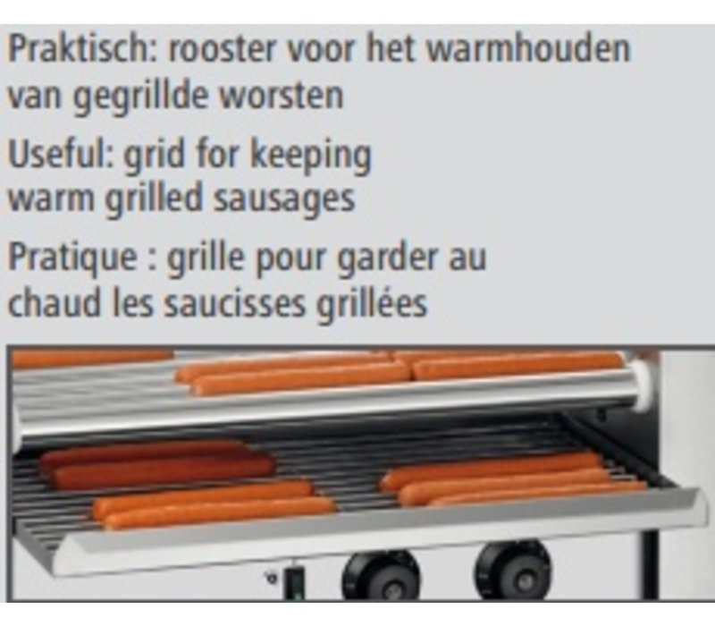 Bartscher Roller Grill sausages 7180   Stainless steel   7 Rotating Roles Length approx 460mm   590x305x (H) 230mm