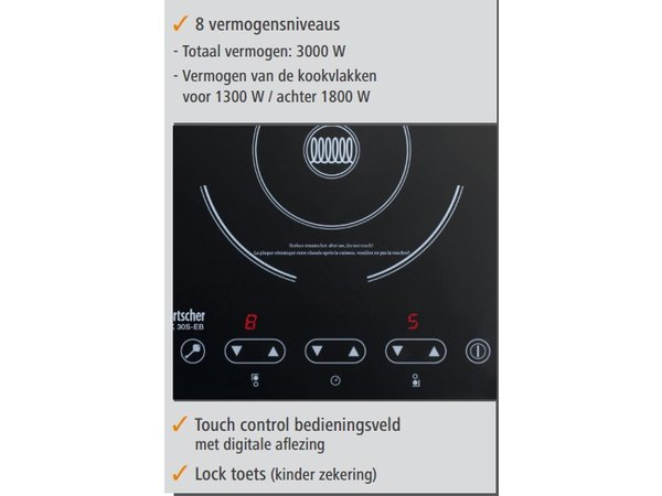 Bartscher Induktionskochfeld | Montage Geeignet | Für 1300W | Hinter 1800W | 290x510x (H) 83 mm