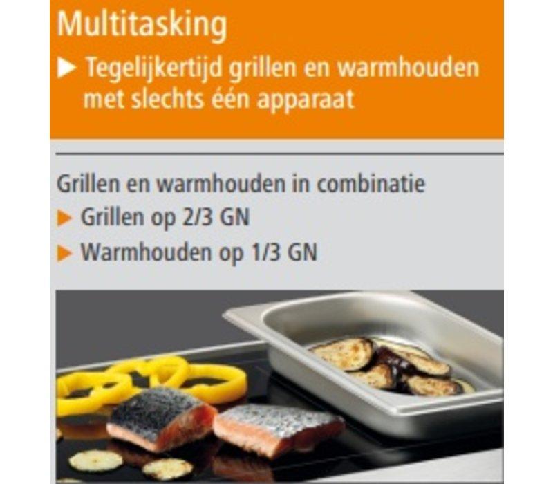 Bartscher Ceran-Grillplatte und Warmhalteplatte | Grillen und warm halten | Edelstahl | Mit Griffen | 600x415x (H) 86 mm