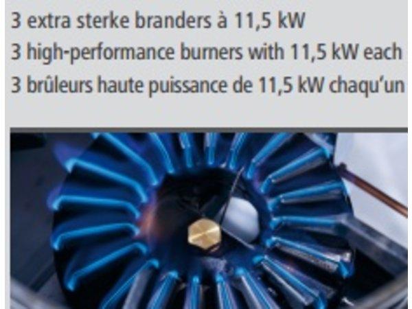 Bartscher Gas wokplaat 3 extra sterke branders - 30.000W
