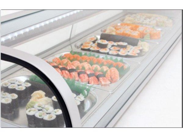 Bartscher Sushi Vitrine | Silver Plastic | Sliding glass | 5 x 1/2 GN | 1800x425x (H) 295mm