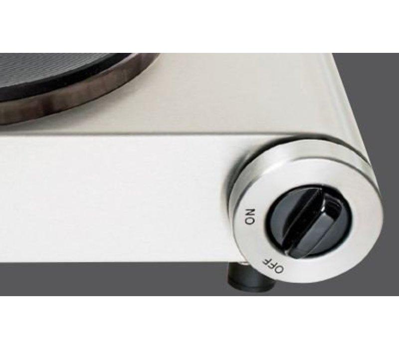 Bartscher Kocher | 2 Herdplatten | Chromnickelstahl | 2,5 kW / 230 V | 535x225x (H) 90 mm