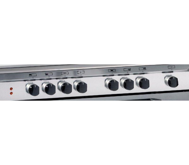 Bartscher Gasfornuis 5 Pitten + Elektrische Oven RVS + Elektrische Grill | 230V | 900x600x(H)850/900 mm